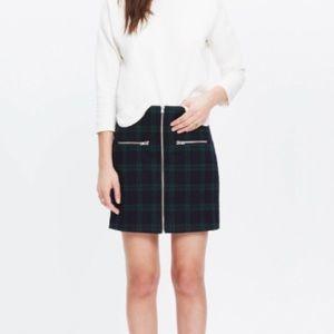 Madewell Dark Plaid Front Zip Wool Skirt